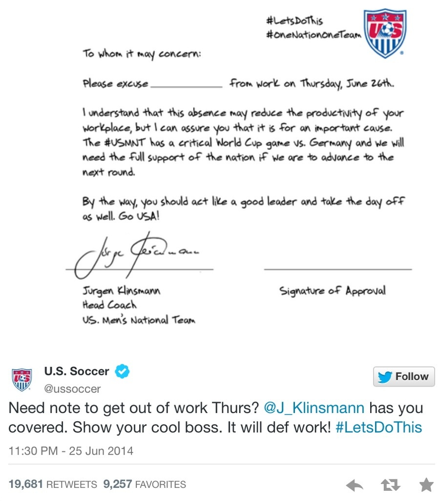 Juergen klinsmann has written this letter to excuse people from work 20140626 110605 39965381g the letter reads to whom it may concern spiritdancerdesigns Images